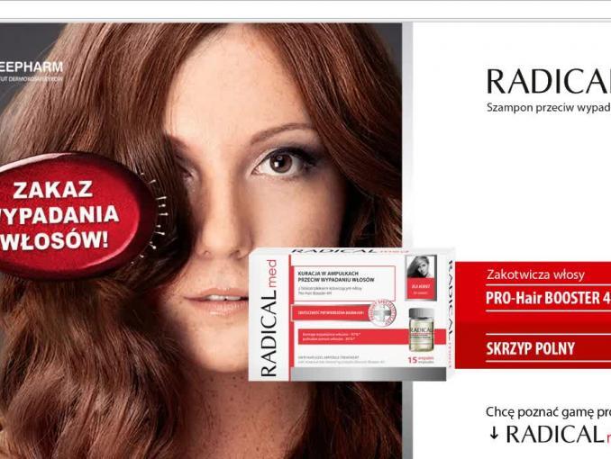 """""""Zakaz wypadania włosów!"""" - reklama szamponu Radical Med"""