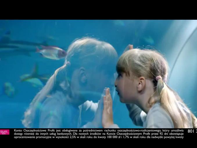 Radosław Kotarski i ławice ryb w reklamie konta Profit w Banku Millennium