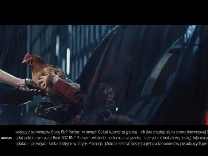 Kura znosząca złote w roli smartfona w reklamie banku BGŻ BNP Paribas