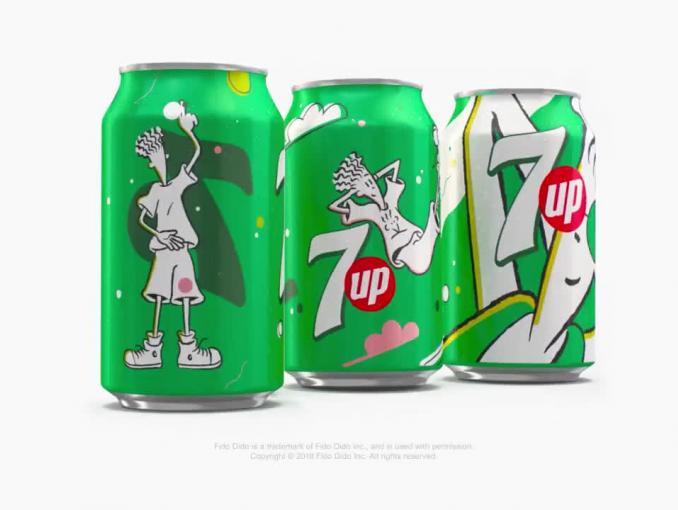 Fido Dido znów na puszkach 7UP - reklama