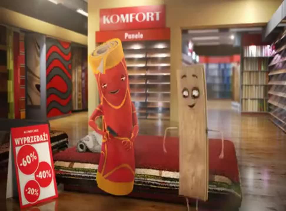 Drewniak i Futrzak reklamują wyprzedaż w sklepach Komfort