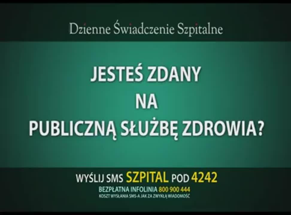Dzienne Świadczenie Szpitalne - reklama 4 Life Direct