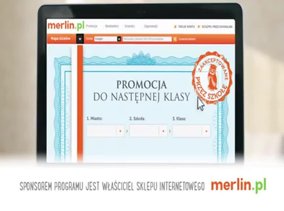 Promocja do następnej klasy - reklama Merlin.pl