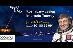 Kosmonauta Mirosław Hermaszewski reklamuje internet Tooway