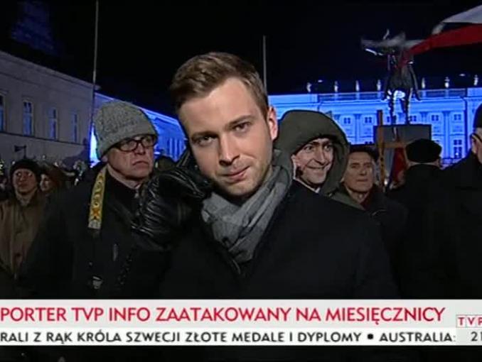 Reporter TVP Info poturbowany podczas miesięcznicy smoleńskiej