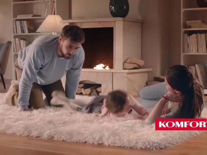 Dorota Szelągowska reklamuje dywan Portofino w sklepach Komfort