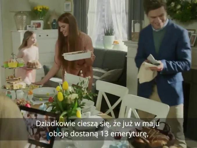 Piątka Kaczyńskiego według dziecka i życzenia od Mateusza Morawieckiego w wielkanocnym spocie kancelarii premiera