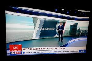Materiał w TVP Info dotyczacy śmierci Łukasza Brzezickiego - naszego redakcyjnego kolegi