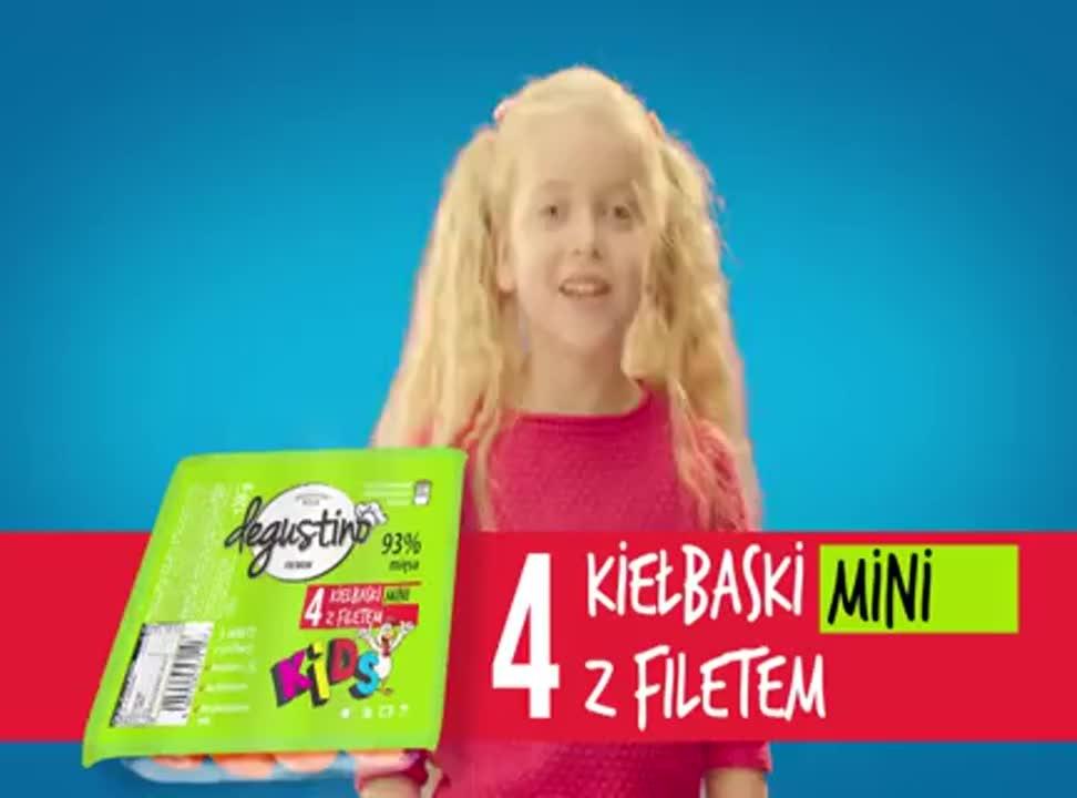 Dziecięca reklama kiełbasek Degustino